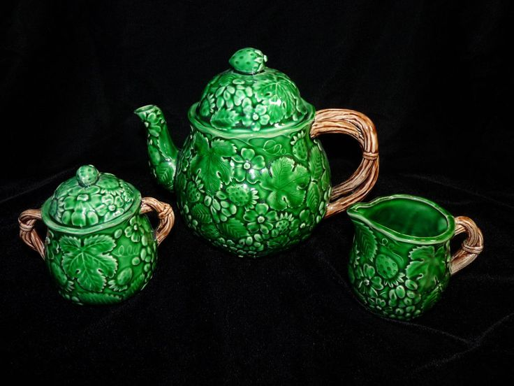 1983 Haldon Group Green Leaf Tea Pot Sugar Bowl Creamer: green tea pot set