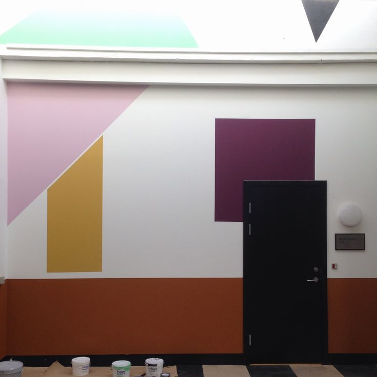 I have colored and decorated this entrance to offices to mark the architecture and make more visual life. -Line Hvass