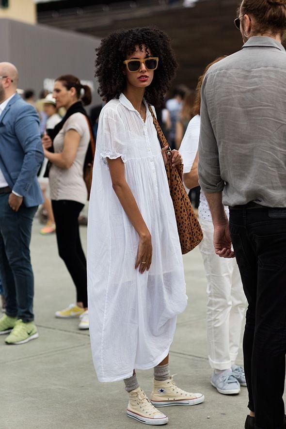 White maxi shirtdress with Converse.