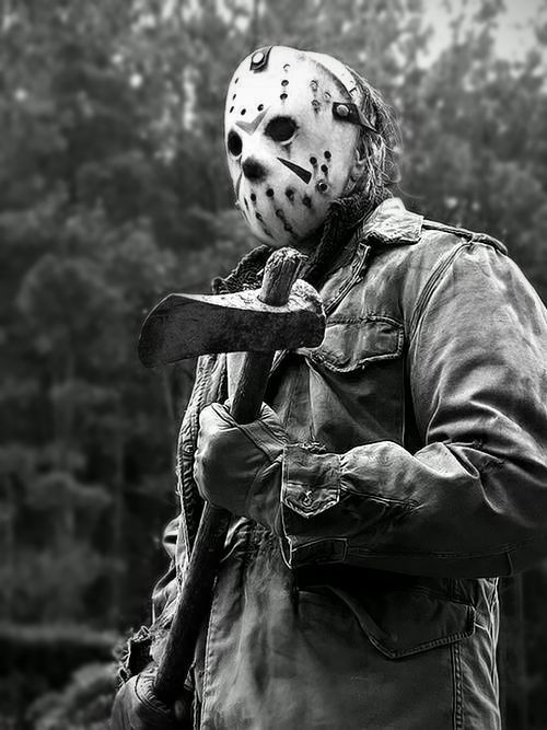 Jason Voorhees in black and white