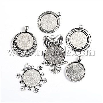 Antique Silver Tone Mixed Shape Alloy Pendant Cabochon Settings<P>Size: about 28~37.5mm wide, 36~54mm long, 2~3mm thick, tray: 25mm, hole: 3~4mm.<br/>Priced per 250 g<br/><b>Please Note</b>: Due to stock variety, color or shape of mixed products may vary from photo sample shown on our website.