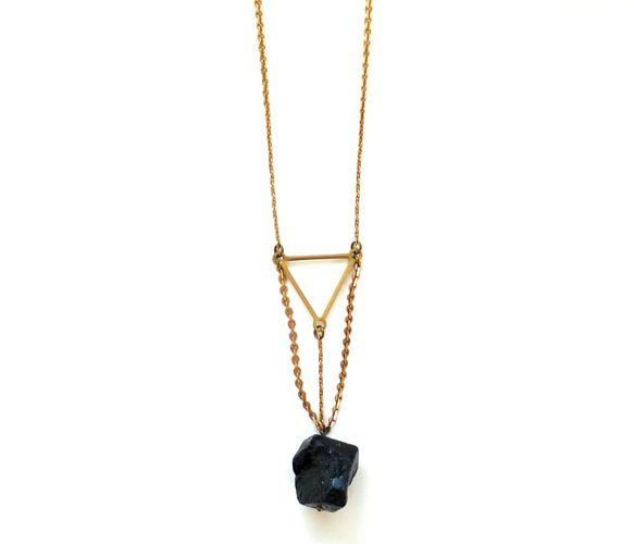 Black Tourmaline Necklace  by nobletownvintage