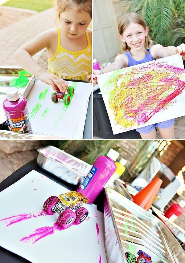 Awesome Monster Jam Truck Party! {Boys Birthday} this may be a cute idea for the 'kids table' if you wanted to go messy :)