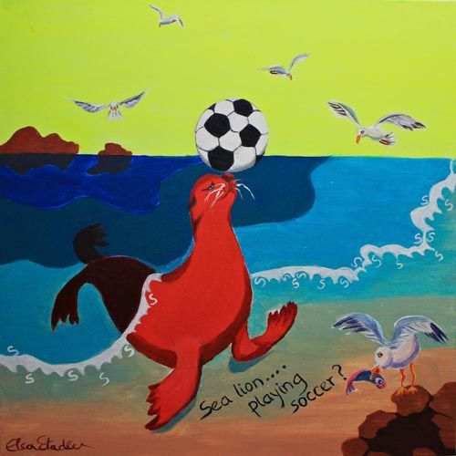 S is for Sea Lion.....'Sea Lion playing soccer?!'