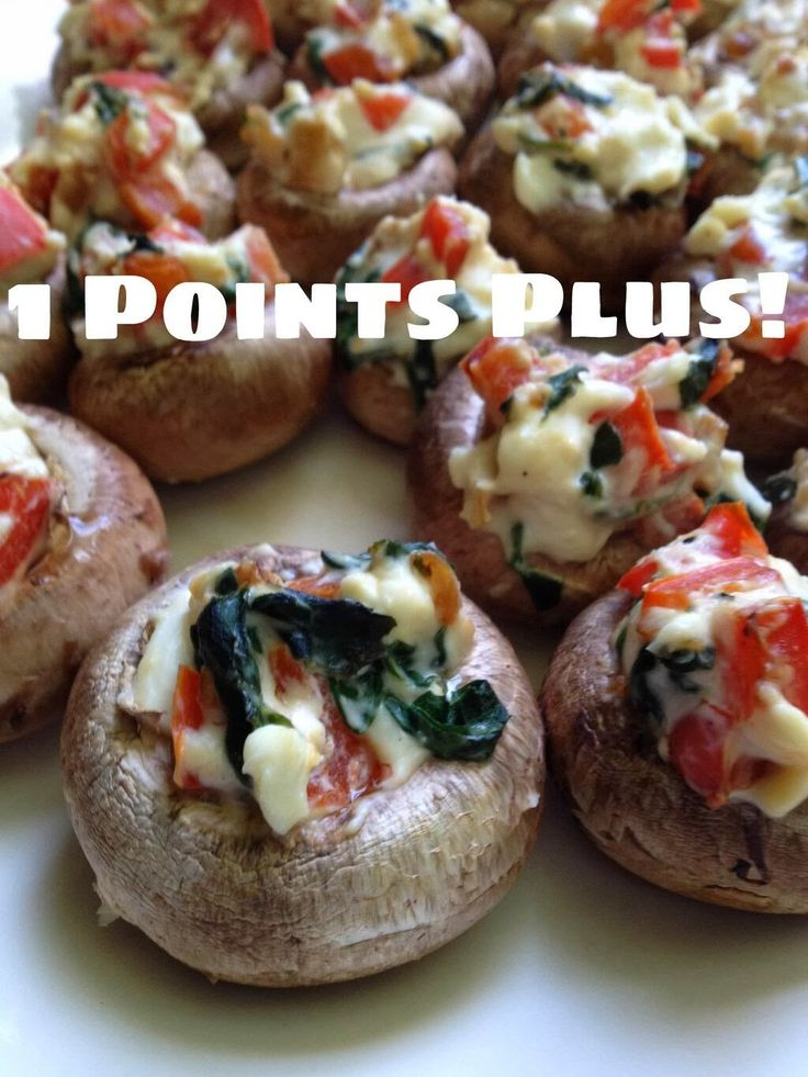 Weight Watchers Red Pepper, Spinach, Cream Cheese Stuffed Mushrooms! Easy, delicious, low point appetizer! 1 PP for 6 Mushrooms!