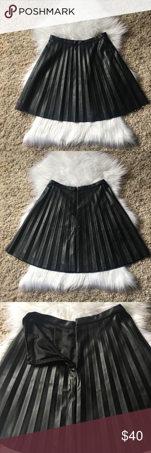 J.Crew Vegan Pleated A-Line Skirt NWOT Black J.Crew Vegan Pleated A-Line Skirt NWOT Black. Never worn, brand new w/o tags. Sits at waist, falls above the knee, hidden back zipper. Regular MSRP $98, Size 2. J. Crew Skirts A-Line or Full