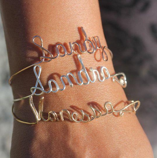 Argentium Silver Name Bracelet Gold Name Bracelet-Silver Name