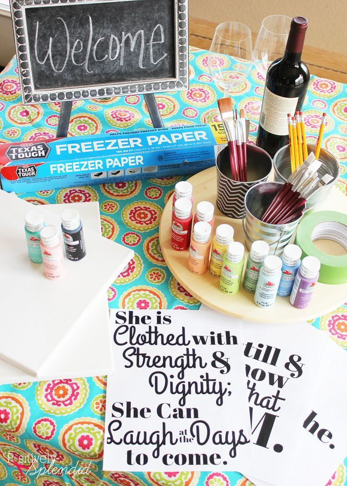 Host your own painting party at home. Plenty of tips for supplies to have on hand, plus a fun project idea for how to create a DIY lettered canvas sign. MichaelsMakers Positively Splendid
