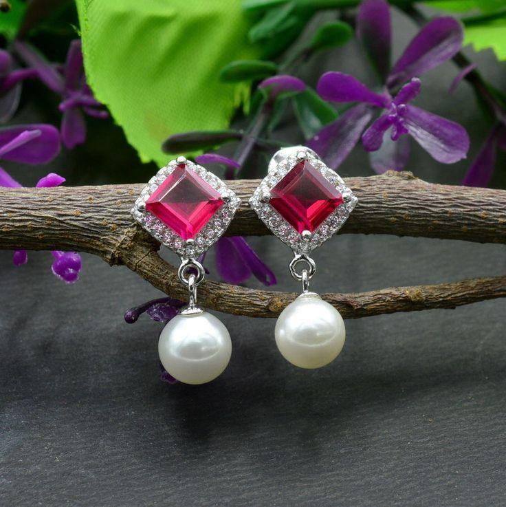 925 Solid Sterling Silver Ruby Gemstone Stud Earrings Jewelry E310 #Handmade #Stud #Party