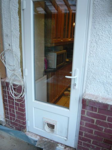 Upvc double glazed back door with cat flap ebay new for Double back doors