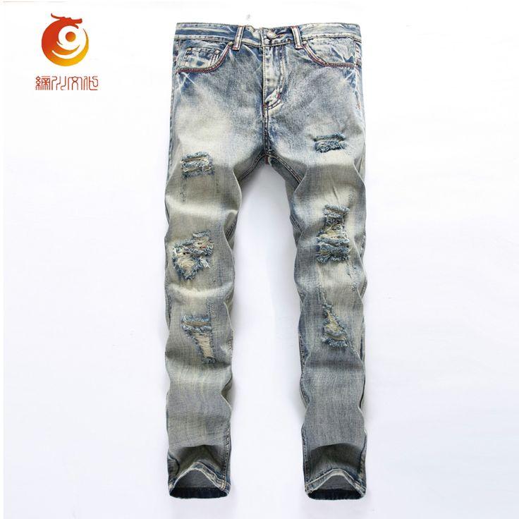 Hip Hop Hole Denim Jeans Trousers Vintage Straight Slim Jeans Swag Hole  Biker Jeans Destroyed Distressed