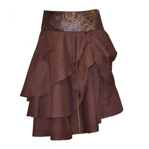 Short Brown Layered Steampunk Skirt ❤ liked on Polyvore featuring skirts, mini skirts, layered skirt, brown skirt, steam punk skirt, layered mini skirt and brown mini skirt