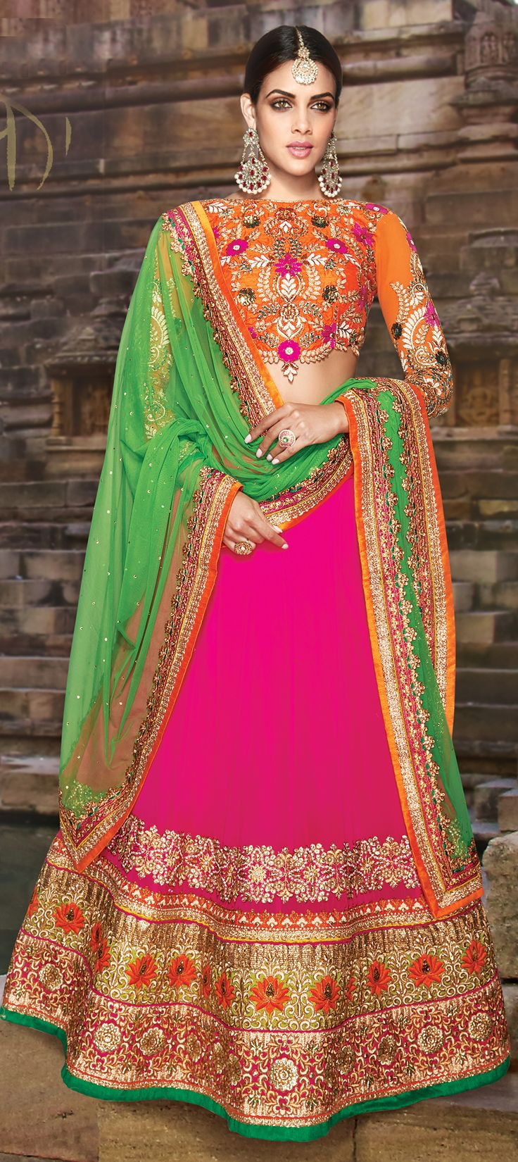 185213: Pink and Majenta color family Bridal Lehenga, Mehendi & Sangeet Lehenga .
