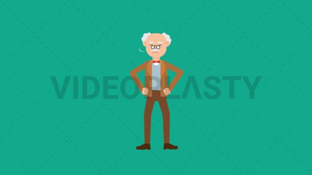 """An older professor with gray hair wearing a brown suit is shaking his head sideways as a sign of """"no"""" or disbelief. Also uses his hand to show that Two versions are included: normal (with a start animation) and loopable. The normal version can be extended with the loopable version Clip Length:10 seconds Loopable: Yes Alpha Channel: Yes Resolution:FullHD Format: Quicktime MOV"""