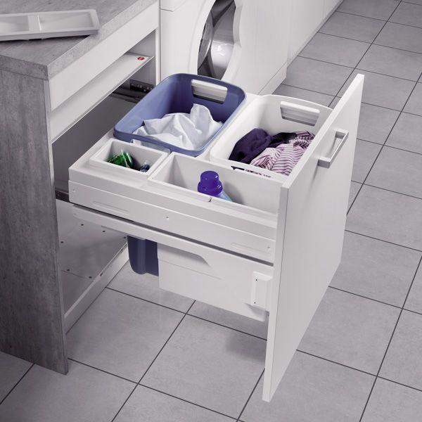 Panier à linge à encastrer dans le meuble de salle de bain #ilovedetails