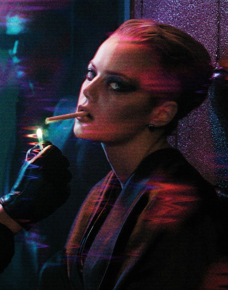 Cyber Noir. Emma Stone. Stylist: Karl Templer. Pic: Mikael Jansson. Interview September 2012.