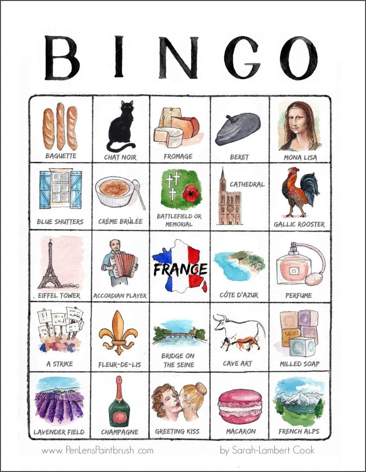 Printable France illustrated travel bingo card by www.PenLensPaintbrush.com