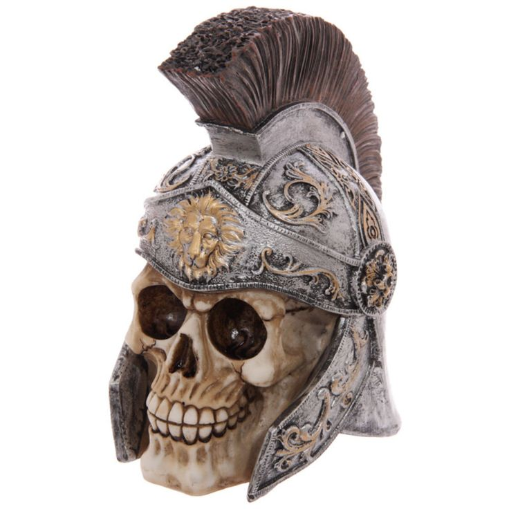 Roman Soldier Skull Ornament In Centurion Helmet Sculpture Collectible Skull Art