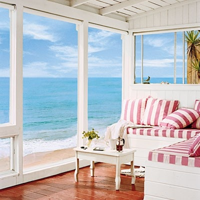 The view, the furniture, the house!: Dreams Home, Dreams Houses, Decor Ideas, Pink Stripes, The Ocean, The View, Coastal Living, Beaches Houses, Ocean View