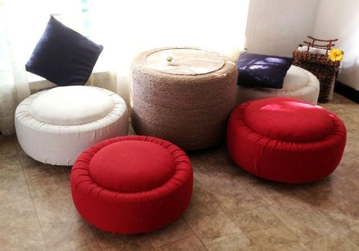 Turn old tires into this comfortable set of furniture!
