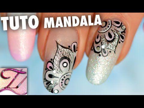 Tuto nail art mandala pastel chic en peinture en one stroke - http://www.nailtech6.com/tuto-nail-art-mandala-pastel-chic-en-peinture-en-one-stroke/