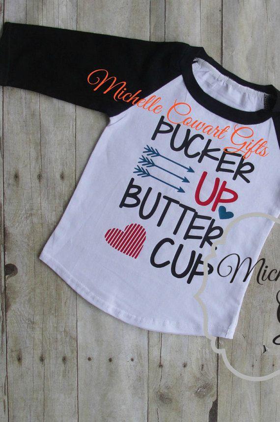 Valentines Day Shirt, Boys, Girls, Valentine Shirt, Pucker Up Butter Cup,  Vinyl, 9M, 12M, 18M, 2T, 3T, 4, 5, 6, 7, 8, Raglan, Icing Raglan, Toddler,  ...