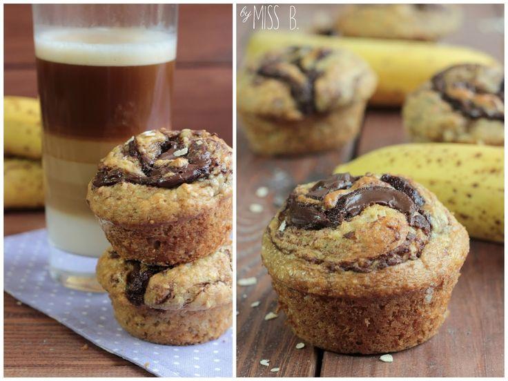 Miss Blueberrymuffin's kitchen: Frühstücksmuffins mit Nutella und Banane