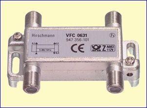 Met het VFC0631 drievoudig verdeelelement splitst u een coaxkabel naar drie antenne aansluitdozen, bijvoorbeeld in drie kamers in uw huis. Vanwege de demping van 6,0 dB naar de uitgangen moet u echter wél een goede antenneversterker gebruiken, bijvoorbeeld de GHV20E, GHV820A of GHV830A. Dank zij de volledige afscherming verliest u geen beeldkwaliteit en worden geen stoorsignalen geïntroduceerd. http://www.vego.nl/hirschmann/vfc0631/vfc0631.htm