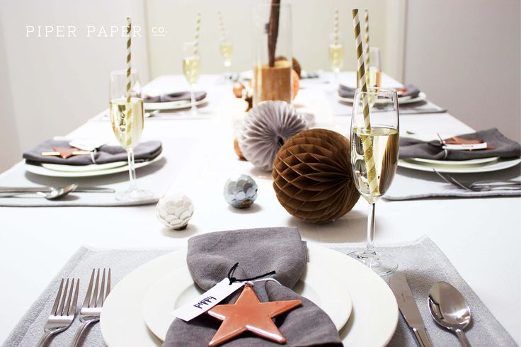 Super chic Christmas tablescape and place settings by Piper Paper Co. Like what you see? Follow our new small business on Pinterest, Instagram and Facebook.