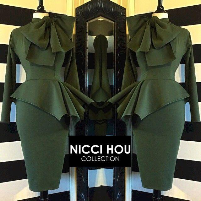 Nicci Hou Collection Army Green Peplum Bow Dress #niccihoucollection #niccihou