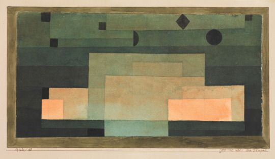 The Firmament Above the Temple by Paul Klee by Paul Klee via Modern and Contemporary Art      Medium: Watercolor, pen and ink, and graphite on paper, bordered with gouache and ink, mounted on cardboard  The Berggruen Klee Collection, 1987 Metropolitan Museum of Art, New York, NY Metropolitan Museum of Art, New York, NY