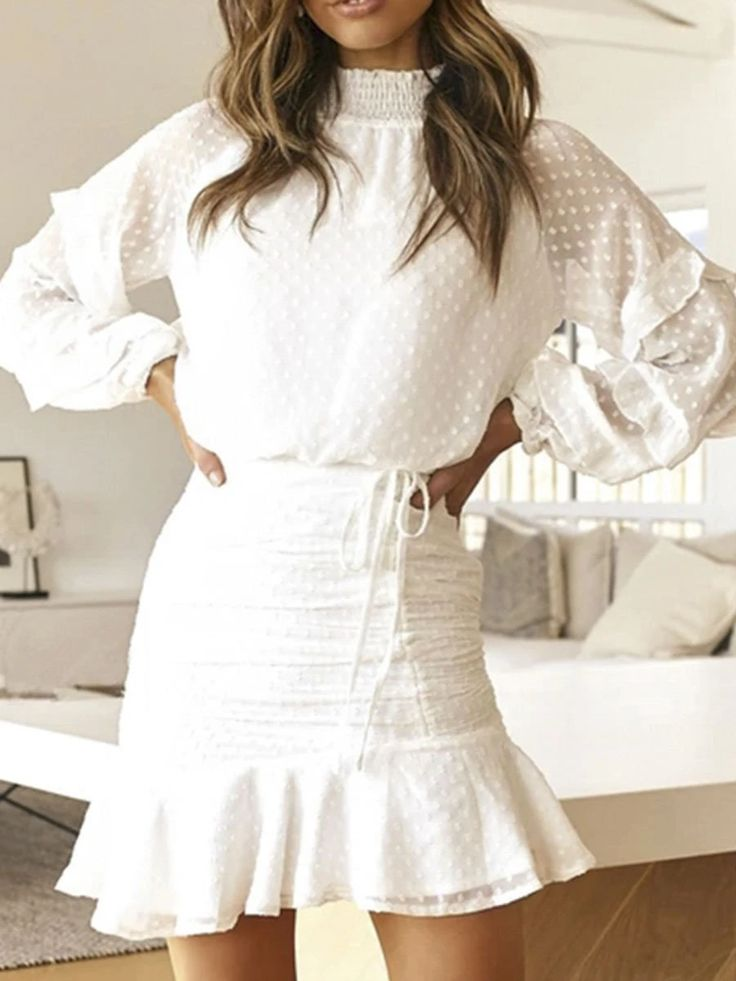 Fashion White Turtleneck Dress Women Winter 2019