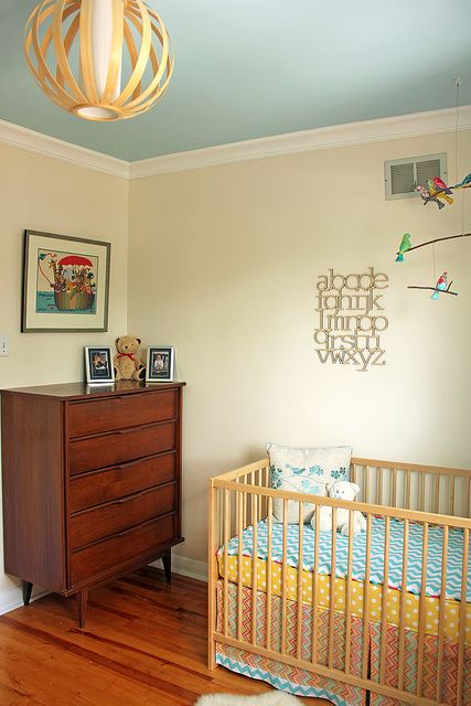 Cream Walls Blue Ceiling Home Again Pinterest Room Baby And