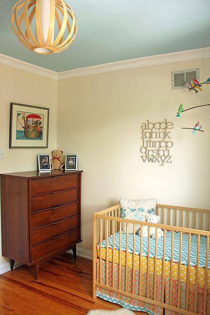 Tanis Fiber Arts Baby S Room Cream Walls Blue Ceiling