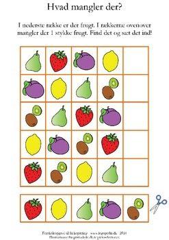 I den nederste rkke er der 5 frugter, som du kan klippe ud. Find, hvad der mangler i hver af de verste rkker, og lim det manglende billede ind.