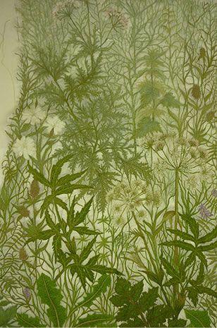 Hedgerow foliage - Sue Rangeley - machine stitched lace
