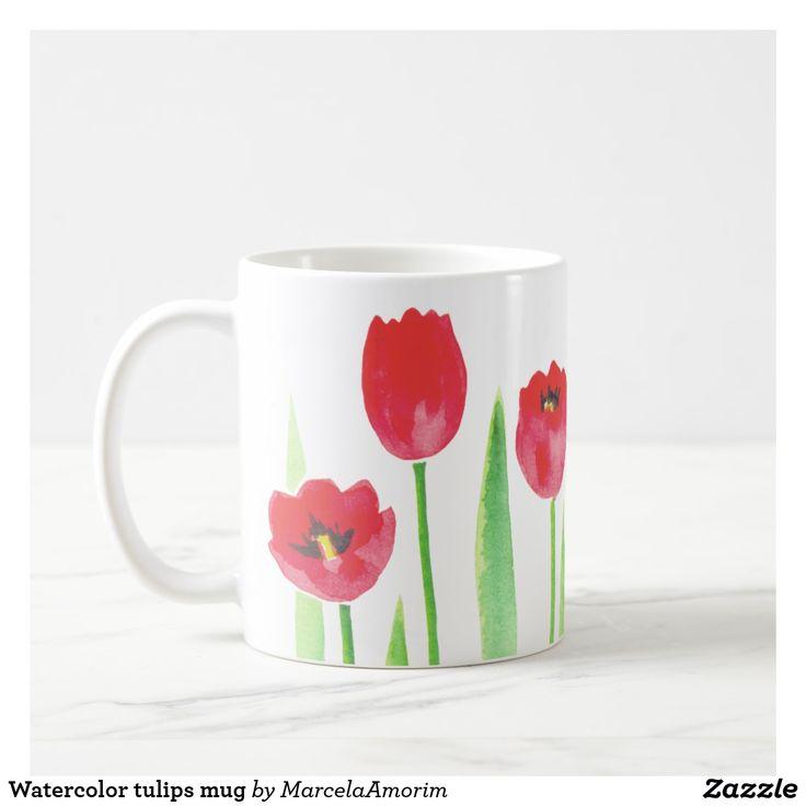 Caneca De Café Watercolor tulips mug #shopping #decorative #tulips