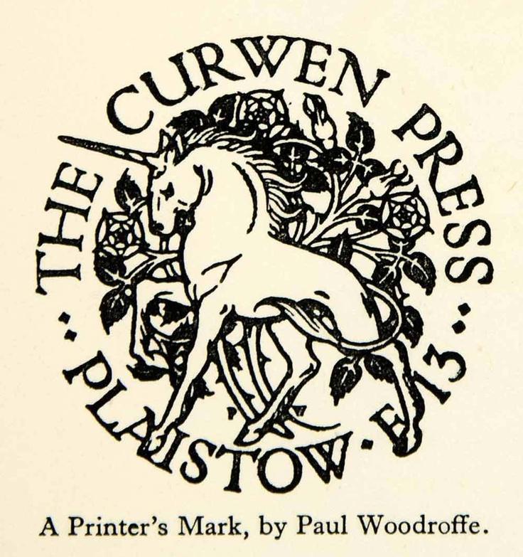 1927 Offset Lithograph Paul Woodroffe Printer's Mark Unicorn Graphic Design Art   eBay