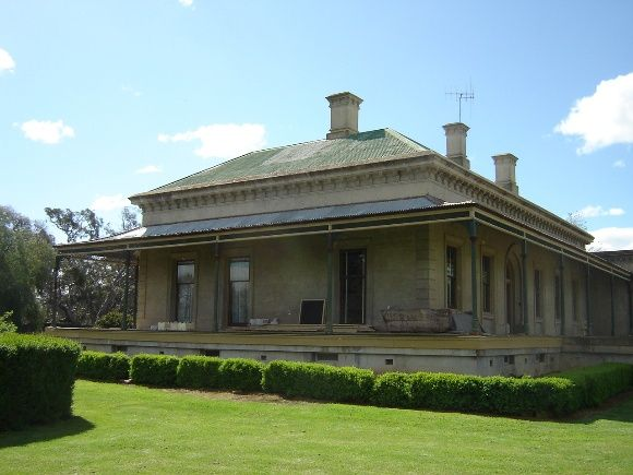 Colbinabbin Homestead, Campaspe Shire, is an Italianate style single storey solid brick and stucco house designed by Bendigo based architect, Robert Alexander Love, and built for John Winter-Irving in 1867. The Winter-Irving family owned large pastoral interests throughout Victoria, New South Wales and Queensland which were established with the proceeds of gold discovered on their land near Ballarat.