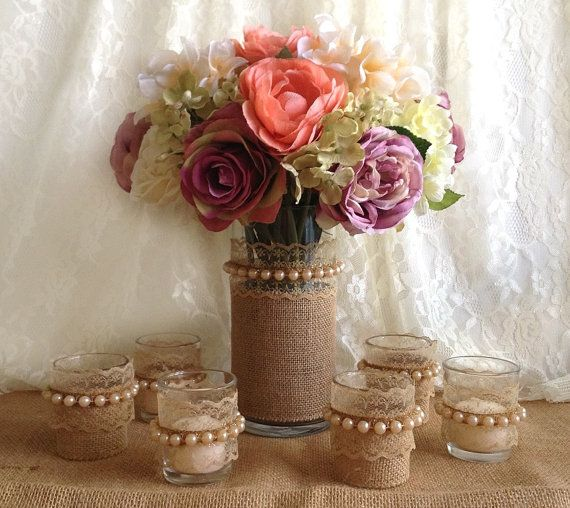 7 piece burlap and lace covered vase and votive tea by PinKyJubb