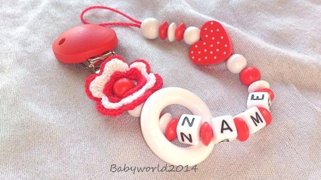 Schnullerketten - Schnullerkette mit Namen - ein Designerstück von babyworld_2014 bei DaWanda