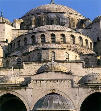 A cascade of domes on the Sultan Ahmet Camii in Istanbul