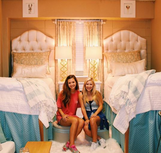 Abby Bozeman and Lindy Goodson moved into halls at The University of Mississippi this week and immediately set about remodelling the entire room. It looks pretty luxurious now.