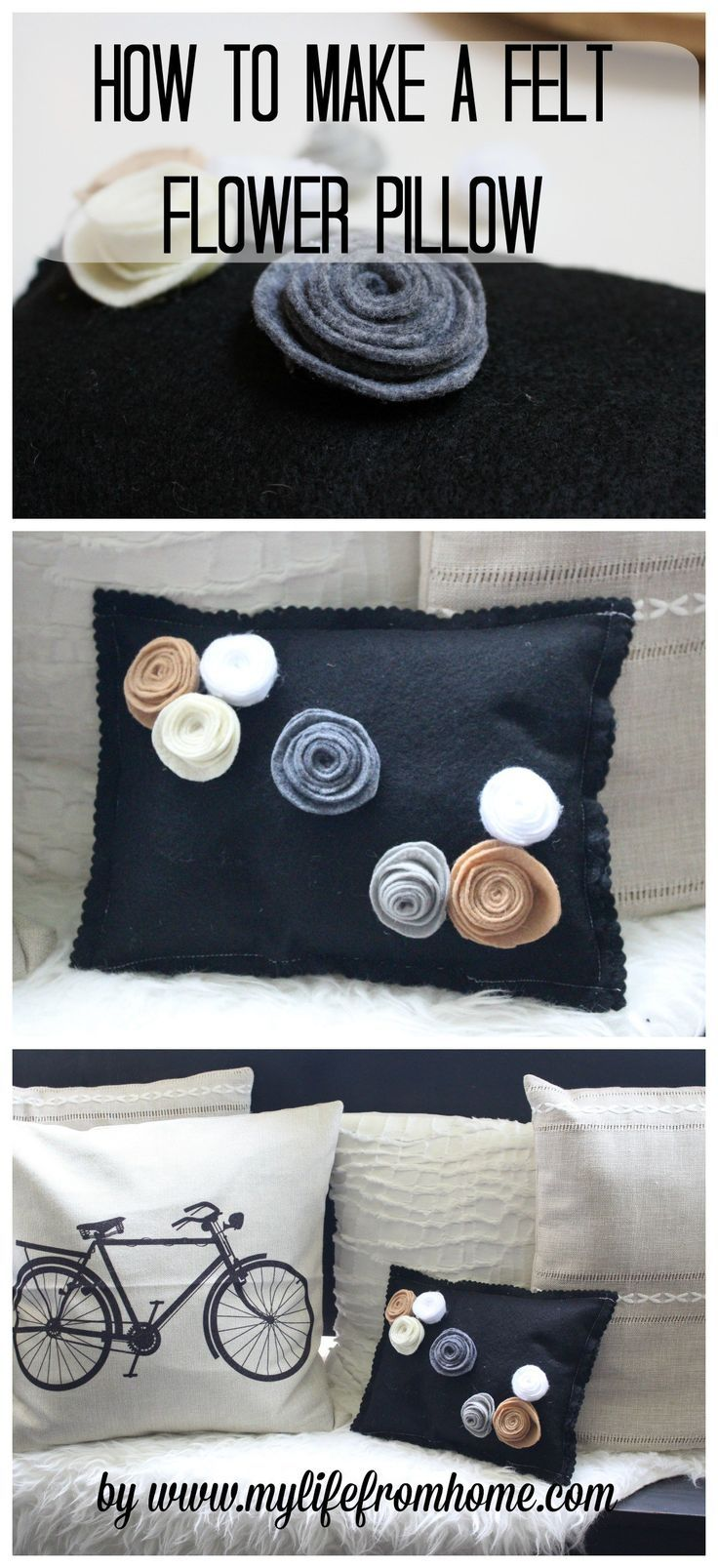 How to Make a Felt Flower Pillow by http://www.mylifefromhome.com
