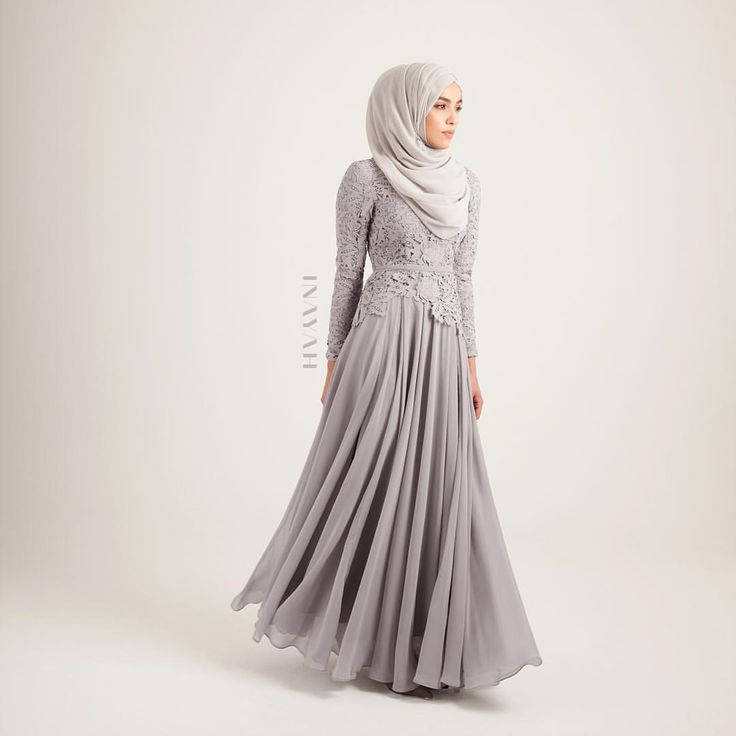 INAYAH | Our popular Grey Maya Evening Gown is back in stock; exude class and feminity in our regal, elegant evening gowns. - Grey Maya #Evening #Gown + Grey Maya #Hijab - www.inayah.co