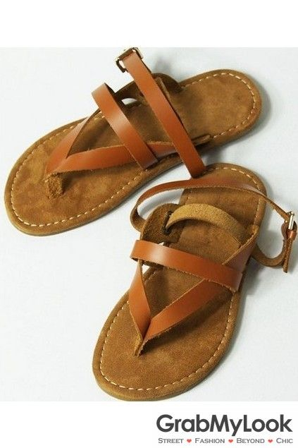 GrabMyLook Two Way Thin Brown Leather Straps Sling Back Gladiator Roman Men Sandals Flip Flops Flats