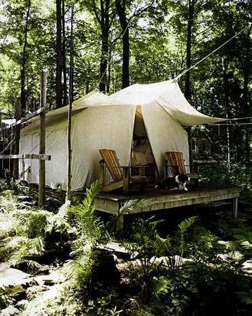 Pretty setting for this simple tent cabin.