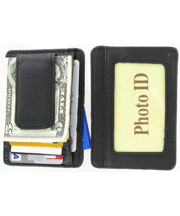 """Men/""""s Leather Wallet Front Pocket Thin Slim Wallets Black ID Credit Card Holder"""