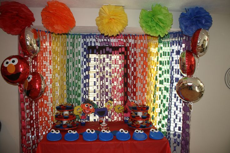 Home made decorations for an Elmo/Sesame Street themed birthday party inspired by other ideas from pinterest!