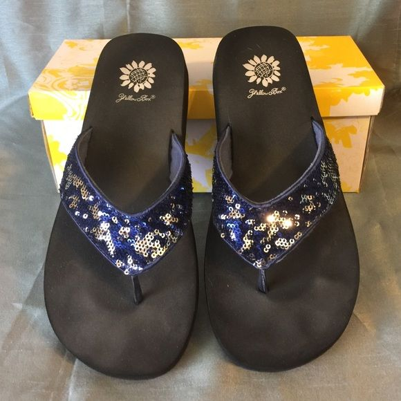Yellow Box flip flops Blue and silver sequins. Worn 2 times. Yellow Box Shoes Sandals